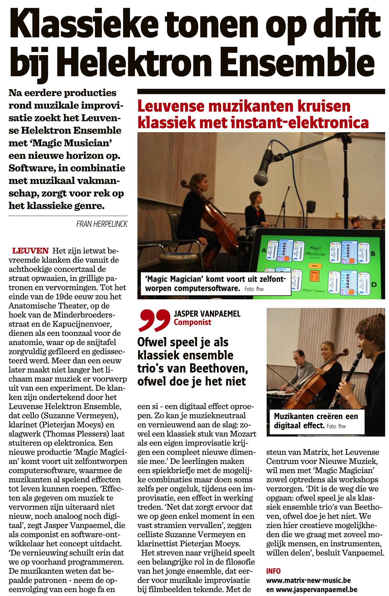 Helektron Anatomisch Theater Nieuwsblad 16 oktober
